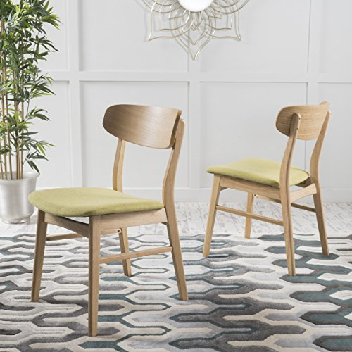 Christopher Knight Home 298991 Lucious Fabric/Oak Finish Dining Chair (Set of 2), Green Tea