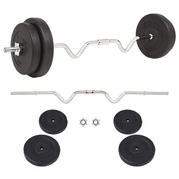 FZYHFA Conjunto de Pesas de Disco de Cemento + Barras de Acero diámetro de los Grandes Disco 30 cm Negro 30 kg Kit Halteres: Amazon.es: Deportes y aire ...