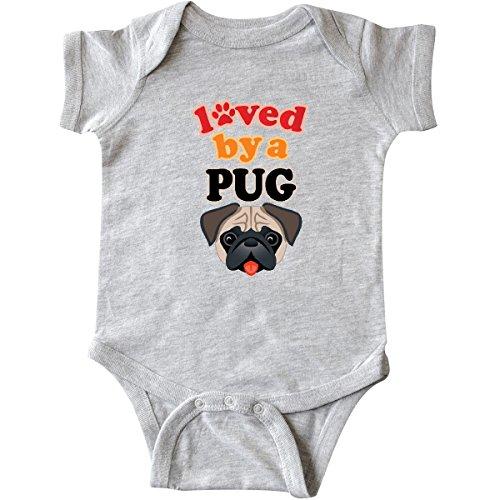 inktastic - Pug Dog Lover Gift Infant Creeper 6 Months Heather Grey -