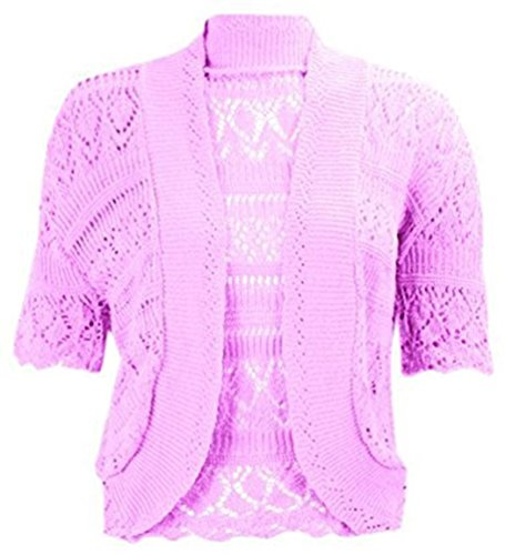 (RIDDLED WITH STYLE Womens Chorochet Knitted Bolero Shrug Top Ladies Short Sleeve Cardigan Crop Top#(Plum Knitted Bolero Shrug#US 10-12#Womens))