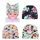 DRESHOW BQUBO Newborn Hospital Hat Infant Baby Hat Cap with Big Bow Soft Cute Knot Nursery Beanie (3 Pack Bow Cloth Flower Print B/ 0-3 Month A)
