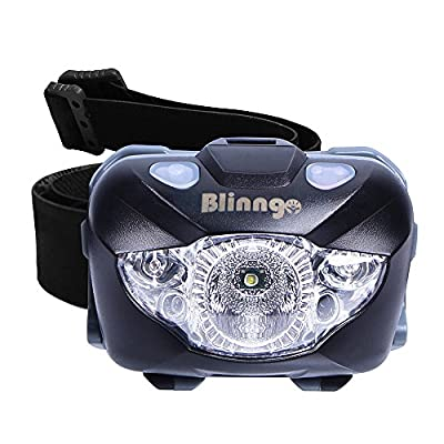 Blinngo Waterproof Motion Sensor Headlamp, Adjustable Headlight Flashlight with Red Lights for Reading Outdoor Running Camping Backpacking Fishing Hunting Climbing Walking Jogging