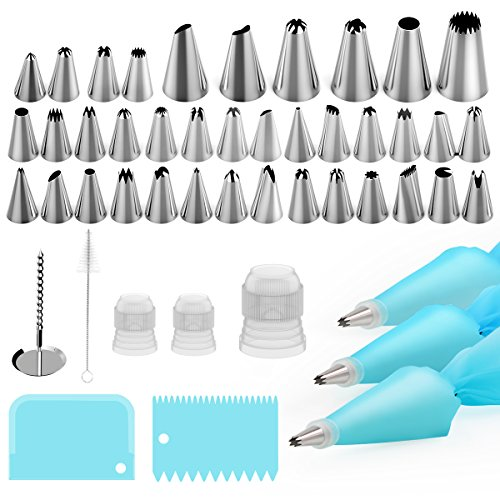 Puroma 48pcs Cake Decorating Supplies Kit - 38 Icing Tips, 2 12 Silicone Pastry Bags, 1 16 Silicone Pastry Bags, 2 Icing Smoothers, 3 Reusable Couplers, Flower Nails, Cleaning Brush Baking Supplies