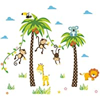 Coconut Tree and Forest Animals Wall Decals , Charming...