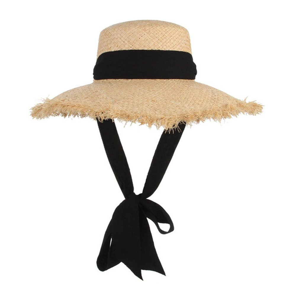LOVEHATS Women Black Ribbon Lace Up Large Brim Straw Hat Outdoor Beach Summer Caps Handmade Weave Raffia Sun Hats as the picture by LOVEHATS