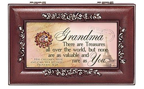 Grandma a Rare Treasure Rosewood Finish Jewelry Music Box - Plays You are My Sunshine (Kaleidoscope Music Box)