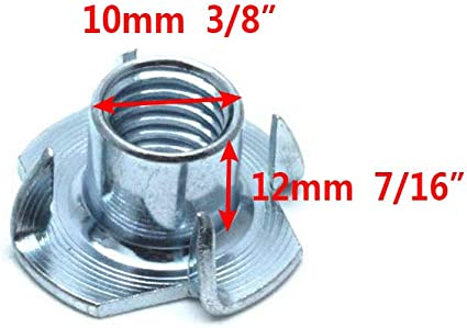 Yoohey 100pcs 3//8-16 Inch T Nuts Rock Climbing Walls Pronged Tee Nut for Cabinetry Woodworking 3//8-16 x 7//16