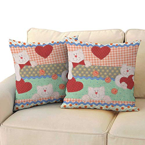 Ediyuneth Throw Pillow Cushion Cover Shabby Chic,Funny Teddy Bears with Hearts in Patchwork Style Cute Kids Theme Design Print, Multicolor 18