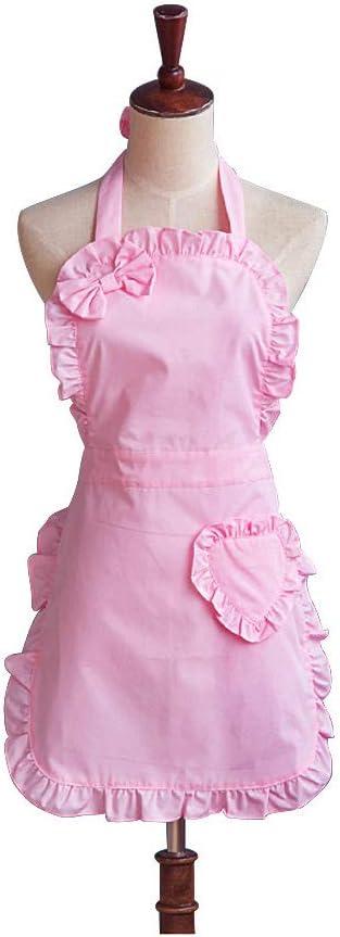 Resistente al agua rosa Cute Girls Bowknot dama Cocina Restaurante para tartas delantal Fashion de la mujer gracioso delantales para regalo de Navidad (rosa)