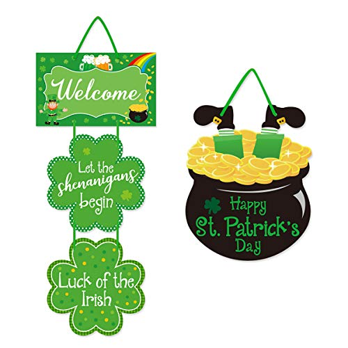 St. Patrick's Day Door Sign Wooden Hanging Welcome Board Green Shamrock Clover Hanger Irish Festive Holiday Home Wall Window Decor