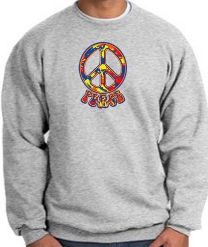 Funky 70s Peace Sign - Funky 70s Peace World Peace Sign Symbol Adult Sweatshirt - Athletic Heather, 4XL