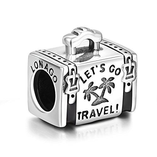 8cea1c20bafe LONAGO Holiday Travel Together Luggage Case Charm 925 Sterling Silver Bead  Fit Bracelet Necklace