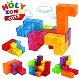 Magnetic Building Blocks, Brainteaser Puzzles Magnetic Tiles, 7pcs/ Set Magic Transparent Speed Cube with 54pcs Smart Cards Intelligence Toys for Kids, Stress Relief Educational Construction IQ Test