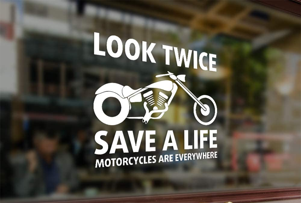 25 Centimeters Look Twice Save A Life Motorcycle Vinyl Stickers Funny Decals Bumper Car Auto Computer Laptop Wall Window Glass Skateboard Snowboard