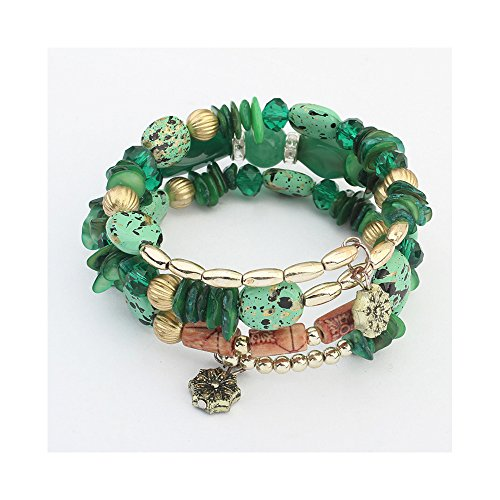 The Starry Night Green Beads Ancient Flower Pendant 3 Cluster Bracelet for Fashion Females 23.62