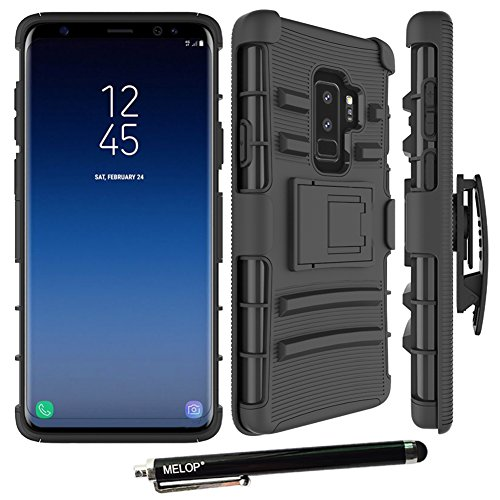 Melop Galaxy S9 plus case, S9+ case, Three Layer Swivel Belt Clip With Kickstand Holster Built-In Armor Case Cover for Samsung Galaxy S9plus 2018 - Black - Kickstand Cover