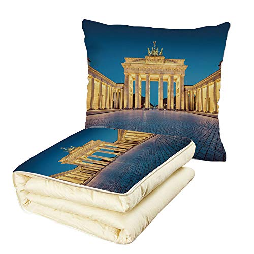 Quilt Dual-Use Pillow Travel Decor Classic View of Famous Br
