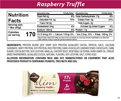NuGo Slim Dark Chocolate Raspberry Truffle, 17g Protein, 3g Sugar, 7g Fiber, 160 Calories, Low Net Carbs, Gluten Free, 12 Count