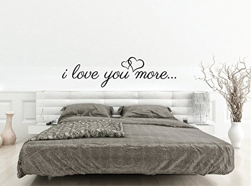 456Yedda Wall Sticker Love Quote I Love You More Removable Vinyl Wall Decal Quote with Heart Love Saying for Bedroom Over Or Above Bed Decor