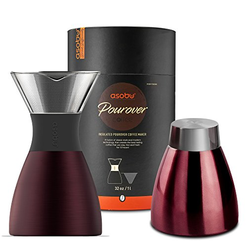 Asobu Red Insulated Pour Over Coffee Maker (32 oz.) Double-Wall Vacuum, Stainless-Steel Filter, Stays Hot Up to 12 Hours by asobu