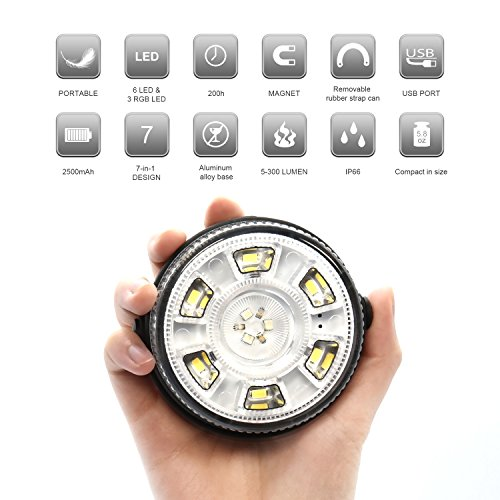 Etekcity Led Rechargeable Lantern with Magnetic Base,Ultra-Compact Waterproof Outdoor Camping Lantern,Multipurpose LED Flashlight Emergency Light(Black,Adjustable)