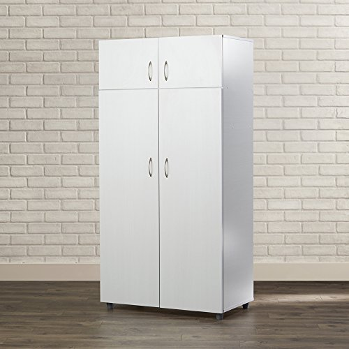 Armoire Wardrobe – Contemporary Bedroom Storage Cabinet – Clothes Organizer – 4 Doors , 2 Top Shelves and 1 Bottom Shelf – Assembly required (White)