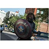 Sebastian Stan (8 inch by 10 inch) PHOTOGRAPH Marvel as Bucky Barnes Behind Shield in Street kn