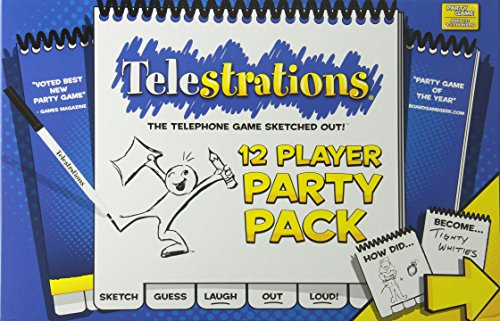 USAOPOLY Telestrations Party Pack 12 Player Party Game | #1 Party Game for All Ages | Play with Your Friends and Family | The Fun Game Telestrations with 600 New Phrases to Sketch]()