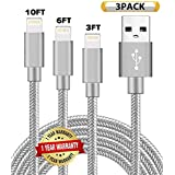 Ulimag Compatible Phone Cable Phone Charger 3Pack (3FT/6FT/10FT) Nylon Braided Compatible with Phone XS Max XR X Phone 8 8 Plus 7 7 Plus 6s 6s Plus 6 iPod - Grey