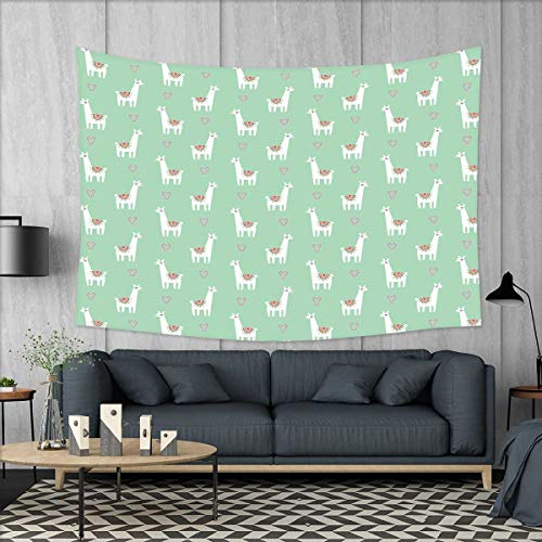 - smallbeefly Llama Wall Hanging Tapestries Cute Llama with Candy Cane Hearts Fun Pattern on Mint Green Background Large tablecloths 84