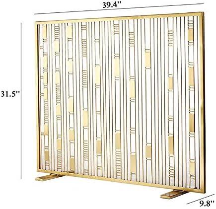 ZLI 暖炉スクリーン 大型暖炉スクリーン、シングルパネルホーム屋外フラットガード防火スクリーン、華やかな金属鉄火装飾メッシュ、暖炉ツールアクセサリー (Color : Gold)