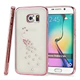 Kit Me Out CAN® Samsung Galaxy S6 [Electroplating Technology] [Ultrathin Fit] Premium Diamond Peacock Protective TPU Gel Case Cover Skin Pouch - Rose Gold