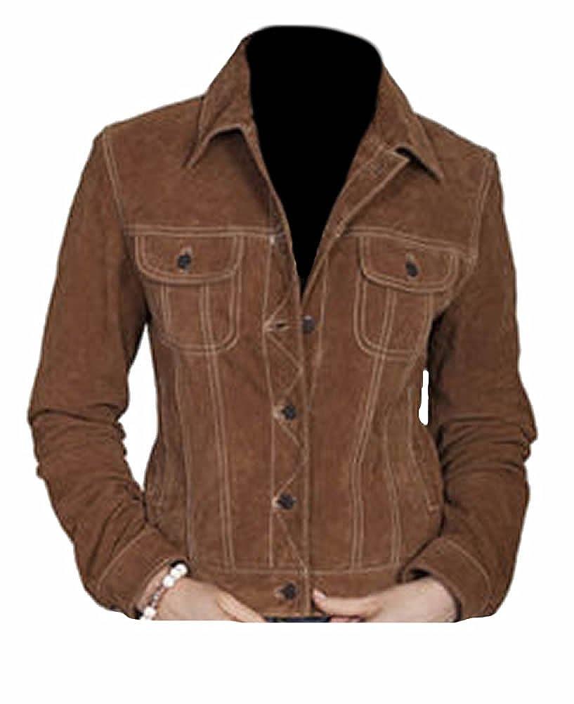 Classyak Women's Fashion High Quality Stylish Suede Leather Coat