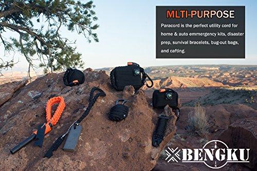 BENGKU Outdoor Survival Mil-SPEC 550lb Paracord/Parachute Cord(MIl-C-5040-H),100Feet,100% Nylon. (Black & Orange, 200.00) by BENGKU (Image #3)
