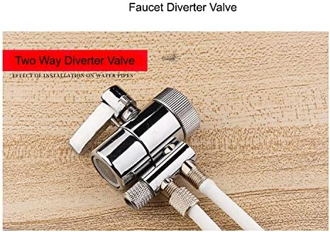 PureSec 2019 Two Way Diverter Valve 1//2 inch Female Thread Kitchen Sink Water Faucet Tap for Countertop water Filter Two Way 3//8 OD Tubing Outlet