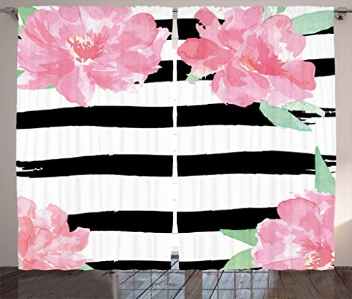Ambesonne Floral Curtains, Watercolor Peony Flowers with Black Brush Strokes Romantic Spring Print, Living Room Bedroom Window Drapes 2 Panel Set, 108W X 84L Inches, Light Pink Black White ()