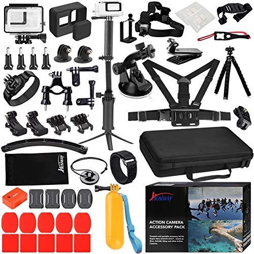 Husiway Accessory Kit for GoPro Hero 7 6 5 Black Waterproof Case Housing Silicone Protector Screen Film for Go pro Hero7 Hero6 Hero5 Bundle Set 57A