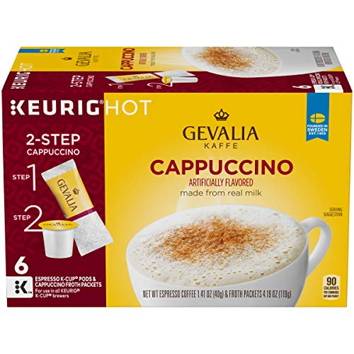 Gevalia Cappuccino K-Cup Pods and Froth Packets, 36 Count (6 Packs of 6)