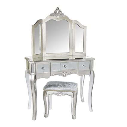 size 40 f0a3f ab22d Melody Maison Ornate Mirrored 3 Drawer Dressing Table, Stool ...