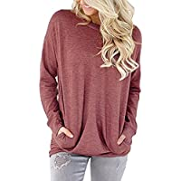 bfd9dfe8107 JOELLYUS Womens Loose Sweatshirt With Pockets T Shirt Blouse Tops Long  Sleeve