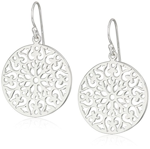 Silver Tone Filigree Leaf Pattern Medallion Disc Drop Earrings (Filigree Medallion)