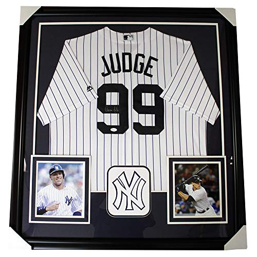 Aaron Judge New York Yankees Autographed Signed Framed White Pinstripe Jersey - JSA Authentic