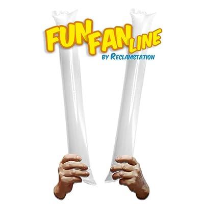 Fun Fan Line® - Pack 60 Pares de Aplaudidores hinchables de plástico. Artículos de Fiesta y animación. Palos cotillón Ideales para fútbol, Fiestas, cumpleaños, comunión. (White): Juguetes y juegos