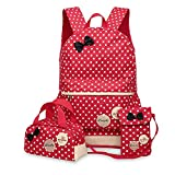 Three-piece backpack schoolbag fashion waterproof cute children girls handbag crossbody bag SHUB9 red
