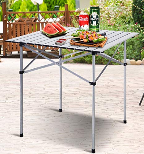 Good concept Roll Up Portable Folding Camping Square Aluminum Picnic Table w/Bag 2pcs 28''x28'' by Good concept