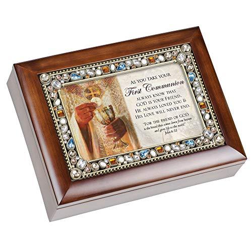 First Communion Walnut Wood Finish Jeweled Lid Jewelry Music Box Plays Tune Ave Maria (Jeweled Treasure Box)
