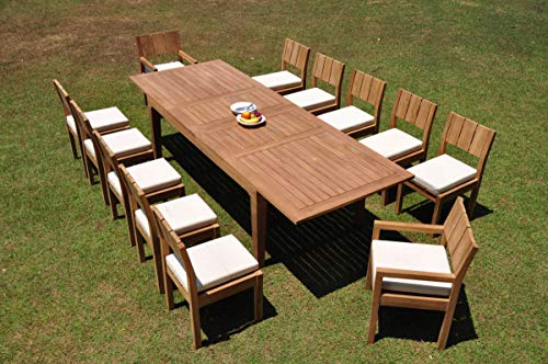 """WholesaleTeakFurniture Grade-A Teak Wood 12 Seater 13 Pc Dining Set: 122"""" Caranas Double Extension Rectangle Table and 12 Veranda Chairs (2 Arm & 10 Armless Chairs) #WFDSVR26"""
