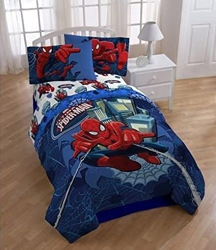 Spiderman Reversible Boys Full Comforter U0026 Sheets (5 Piece Bed In A ...