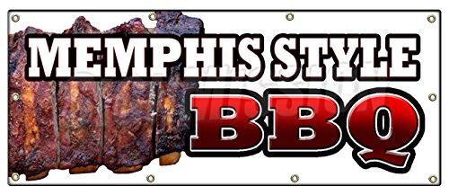 "36""x96"" MEMPHIS STYLEBBQ BANNER SIGN beef brisket ribs pork barbque open eat"