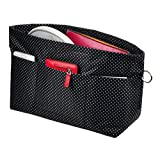 Vercord Handbag Purse Tote Pocketbook Organizer Insert Zipper Clousure 11 Pockets, Black Dots M